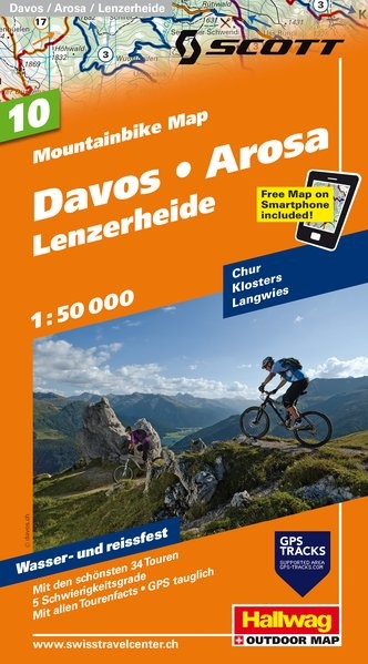 MTB-Karte 10 Davos - Arosa - Lenzerheide 1:50.000 | 2. Auflage, Laufzeit bis 2019, 2014 (Cover)