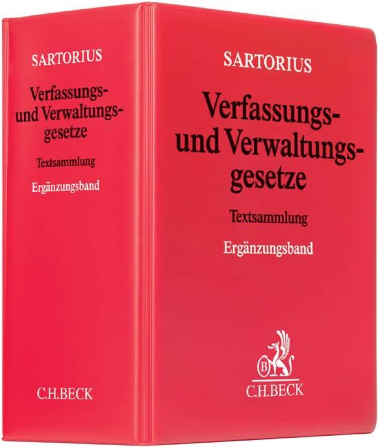 Verfassungs- und Verwaltungsgesetze: Ergänzungsband | Sartorius | 44. Auflage (Cover)
