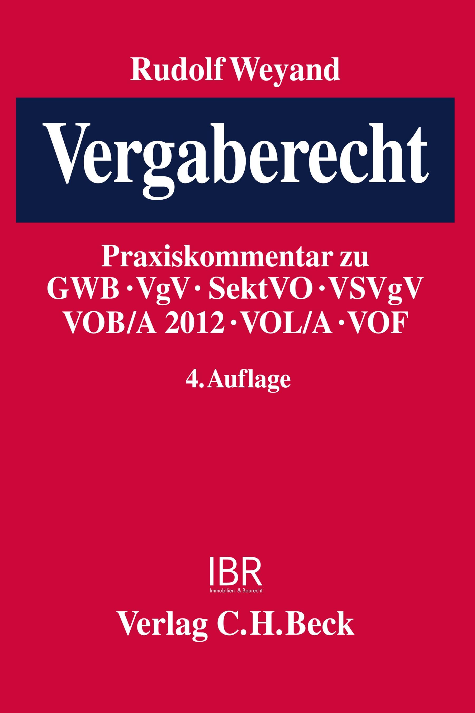 Vergaberecht | Weyand | 4. Auflage, 2012 | Buch (Cover)