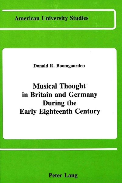 Musical Thought in Britain and Germany During the Early Eighteenth Century | Boomgaarden, 1989 | Buch (Cover)