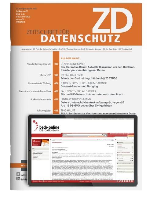 Abbildung von ZD • Zeitschrift für Datenschutz | 9. Jahrgang | 2019