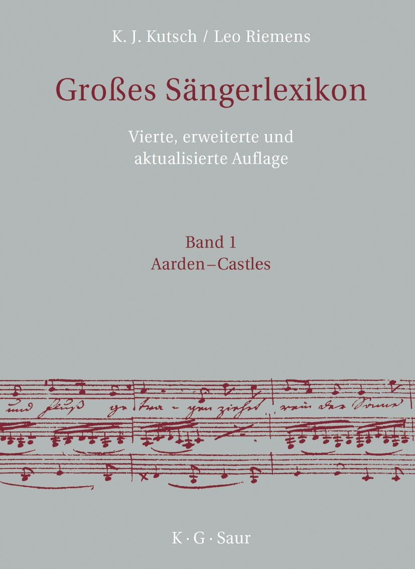 Großes Sängerlexikon | Kutsch / Riemens | 4th enlarged and revised Edition, 2003 | Buch (Cover)
