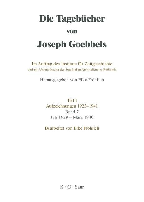 Juli 1939 - März 1940 | Fröhlich, 1998 | Buch (Cover)
