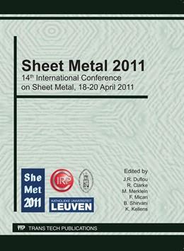 Abbildung von Duflou / Clarke / Merklein / Micari / Shirvani / Kellens   Sheet Metal 2011   2011