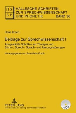 Abbildung von Krech   Beiträge zur Sprechwissenschaft I   2011   Ausgewählte Schriften zur Ther...   36