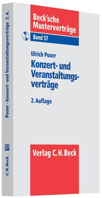 Konzert- und Veranstaltungsverträge | Poser | 2., überarbeitete Auflage, 2012 (Cover)