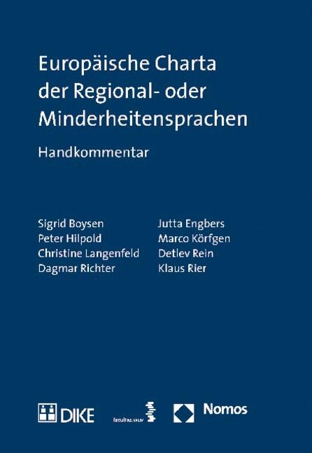 Europäische Charta der Regional- oder Minderheitensprachen | Boysen / Engbers / Hilpold / Körfgen / Langenfeld / Rein / Richter / Rier, 2011 | Buch (Cover)