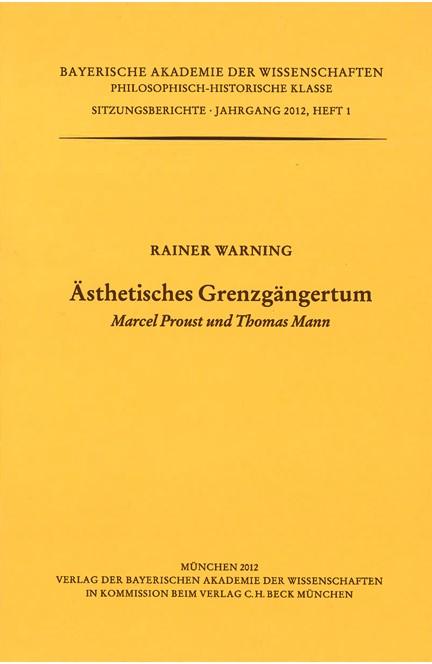 Cover: Rainer Warning, Ästhetisches Grenzgängertum