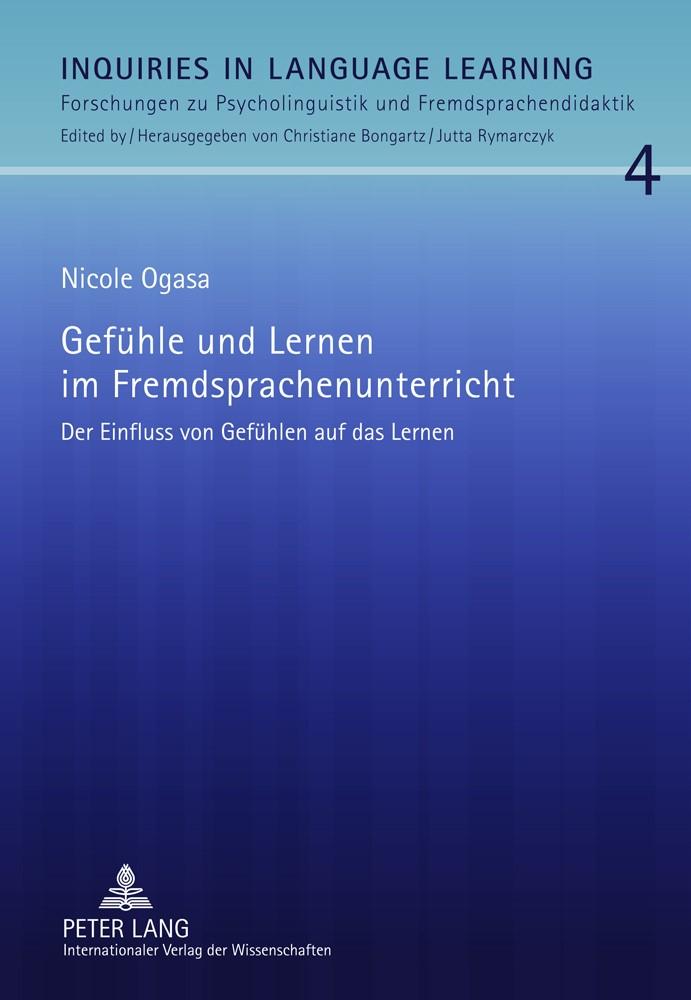 Gefühle und Lernen im Fremdsprachenunterricht | Ogasa, 2011 | Buch (Cover)