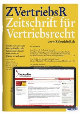 Abbildung von ZVertriebsR • Zeitschrift für Vertriebsrecht | 9. Jahrgang. | 2020 | Handelsvertreterrecht, Vertrag...